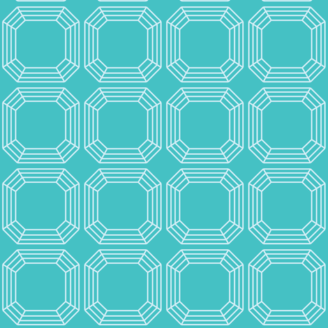 Turquoise Asscher fabric by oceanpien on Spoonflower - custom fabric