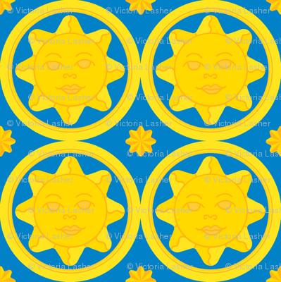 Sunny day medallion - yellow on dark blue
