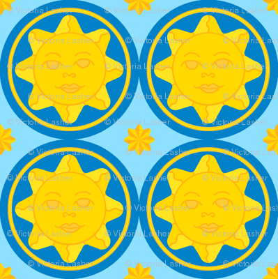 Sunny day medallion - dark blue on light blue