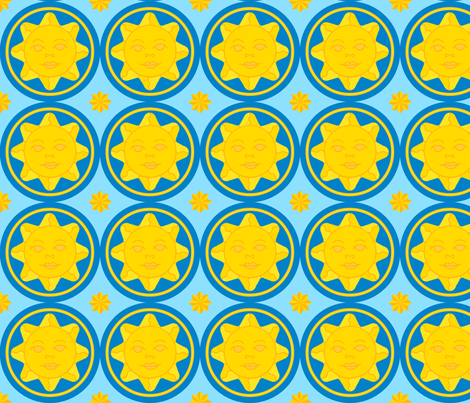 Sunny day medallion - dark blue on light blue fabric by victorialasher on Spoonflower - custom fabric