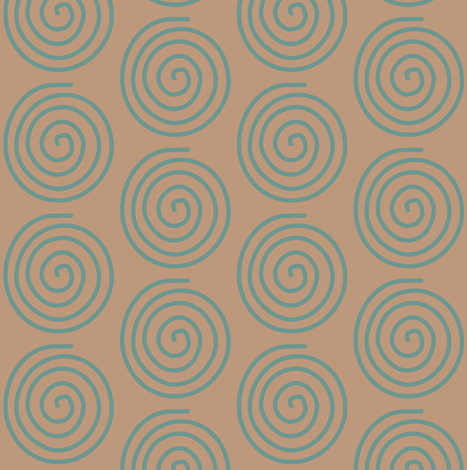 Bluegreen Spiral on lt Copper 25 fabric by mina on Spoonflower - custom fabric