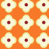Floral Dots in Tangerine (large)