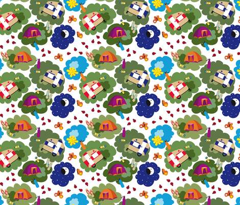 Camping feliz fabric by gemmacreativa on Spoonflower - custom fabric