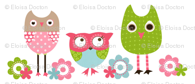 Whimsy Owls White
