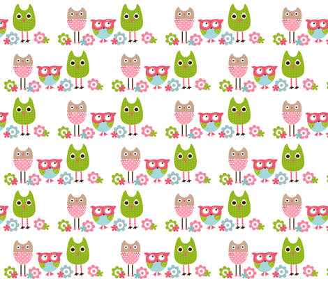 Whimsy Owls White fabric by natitys on Spoonflower - custom fabric