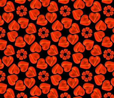 Circle of Hearts Pattern Black fabric by galleryhakon on Spoonflower - custom fabric