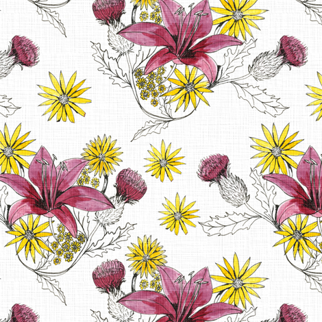 flowers_linen fabric by sary on Spoonflower - custom fabric