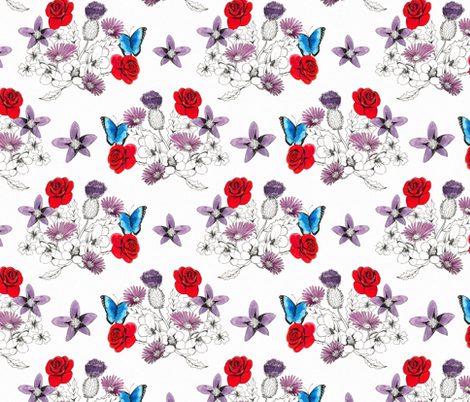 butterflies in the flowers fabric by sary on Spoonflower - custom fabric