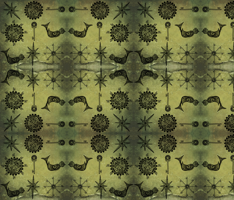 Steampunk doodle bird fabric by fentonslee on Spoonflower - custom fabric
