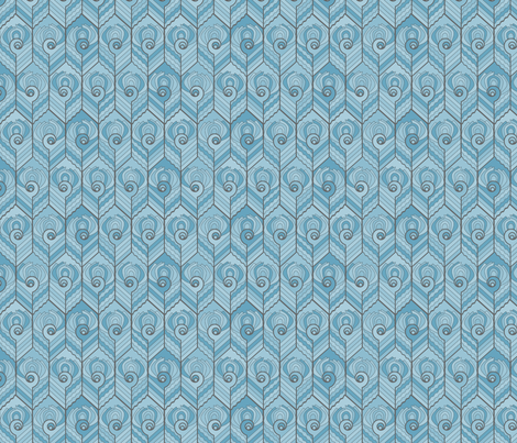Art Deco Peacock - Forget-me-not fabric by jasmo on Spoonflower - custom fabric
