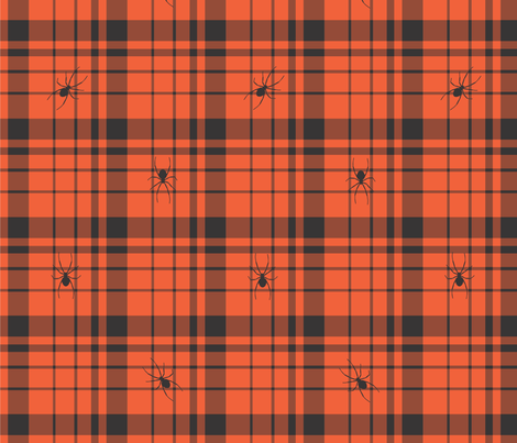HalloweenSpiderPlaid fabric by erdodykl on Spoonflower - custom fabric