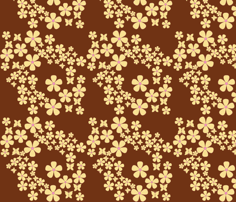 swiss_dots_floral-butterfly- brown,yellow, pink fabric by anino on Spoonflower - custom fabric