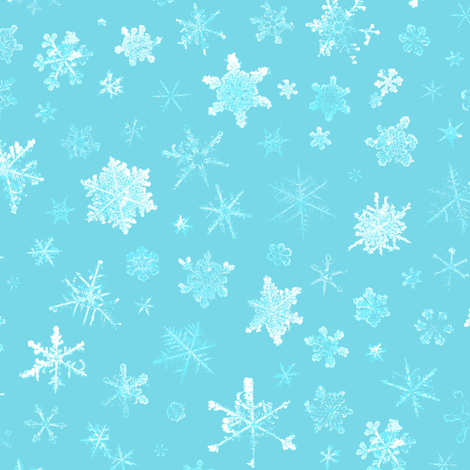 photographic snowflakes on pale cyan (large snowflakes) fabric by weavingmajor on Spoonflower - custom fabric