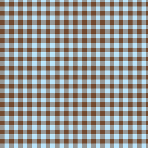 brown and sky blue gingham fabric by weavingmajor on Spoonflower - custom fabric