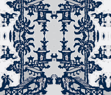 Escher pagoda blue fabric by kerrysteele on Spoonflower - custom fabric