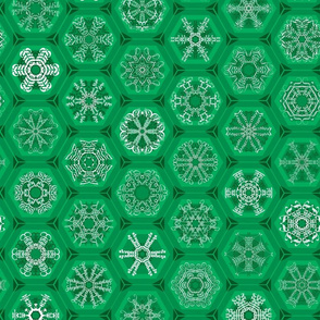 green snowflake mini-ornaments
