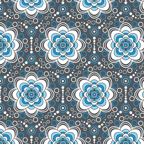 Bubbles in Bloom-blue fabric by jjtrends on Spoonflower - custom fabric