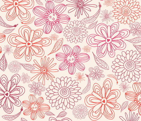 pink and purple flowers in vector fabric by anastasiia-ku on Spoonflower - custom fabric