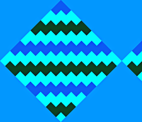 Chevron and Diamonds blue