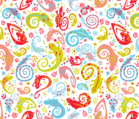 Cameleons fabric by mellymellow on Spoonflower - custom fabric