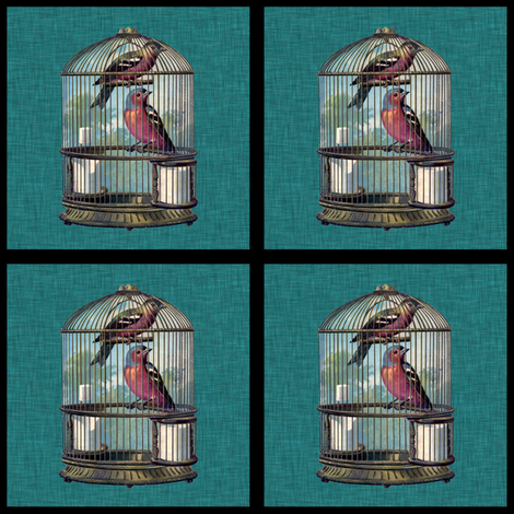 Birdcage patch fabric by glanoramay on Spoonflower - custom fabric