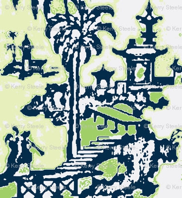 Escher pagoda navy bamboo