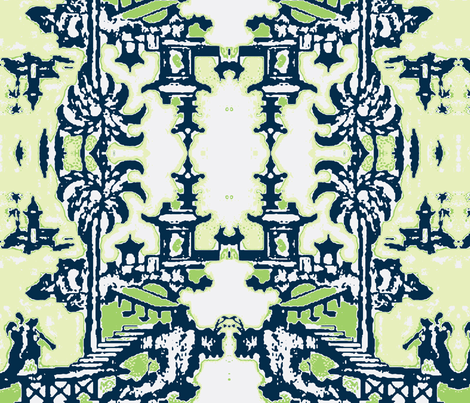 Escher pagoda navy bamboo fabric by kerrysteele on Spoonflower - custom fabric