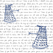 Blue Daleks on Quote Background