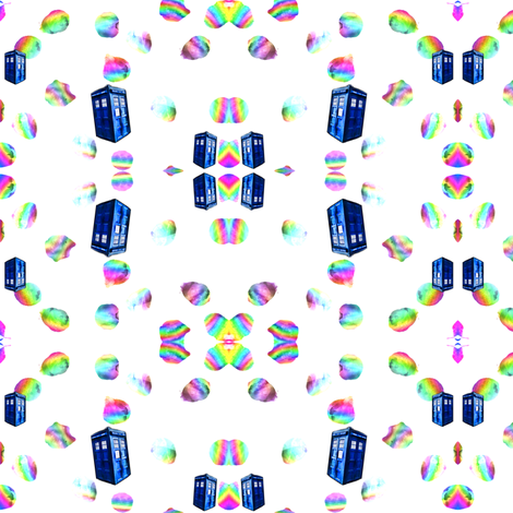 Psychedelic Rainbow TARDIS fabric by bohobear on Spoonflower - custom fabric