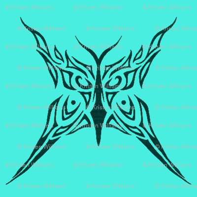 Tribal Butterfly (aqua)