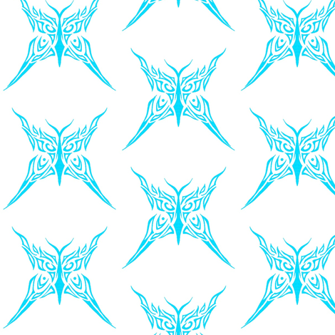 Tribal Butterfly (turquoise and white) fabric by ladyleigh on Spoonflower - custom fabric