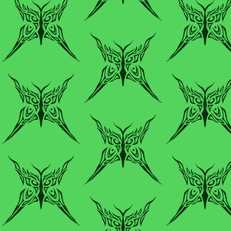 Tribal Butterfly (green) fabric by ladyleigh on Spoonflower - custom fabric