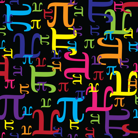 Pieces of Pi (Black) fabric by robyriker on Spoonflower - custom fabric