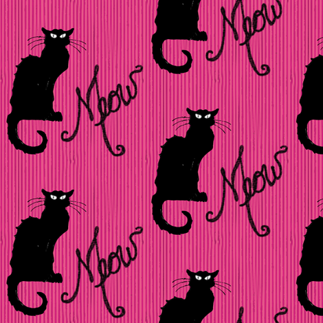 Le Chat Noir Black Cat on Pink Stripe fabric by bohobear on Spoonflower - custom fabric