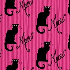 Le Chat Noir Black Cat on Pink Stripe