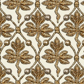 Elizabeth I. Phoenix Portrait Fabric- Cream/Gold - With Pearls