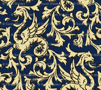 Here There Be Dragons ~ Navy & Gold