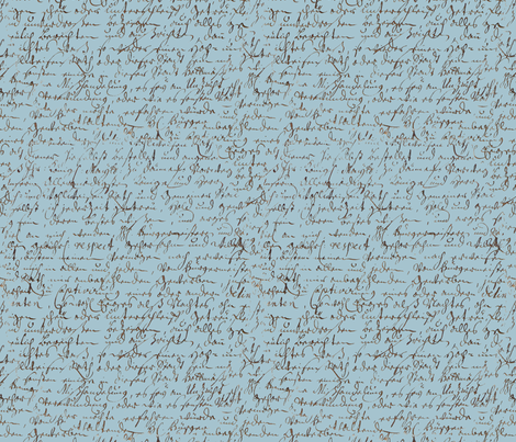 I Thought I'd Write To Juliet... Blue fabric by peacoquettedesigns on Spoonflower - custom fabric
