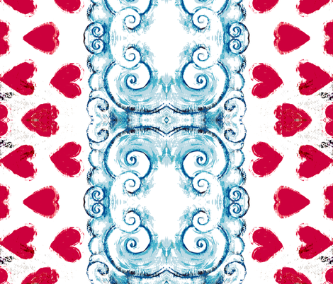 hearts and clouds length-ways fabric by eat_my_sweet_dust on Spoonflower - custom fabric