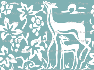 Arts & Crafts deer & grapes - close - vector - white on bluegreen182 -replace