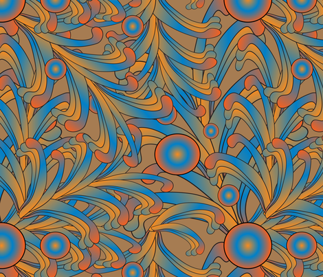 psychedelic Art Nouveau fabric by kociara on Spoonflower - custom fabric