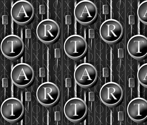 Love and the Art of Typing grayscale fabric by glimmericks on Spoonflower - custom fabric