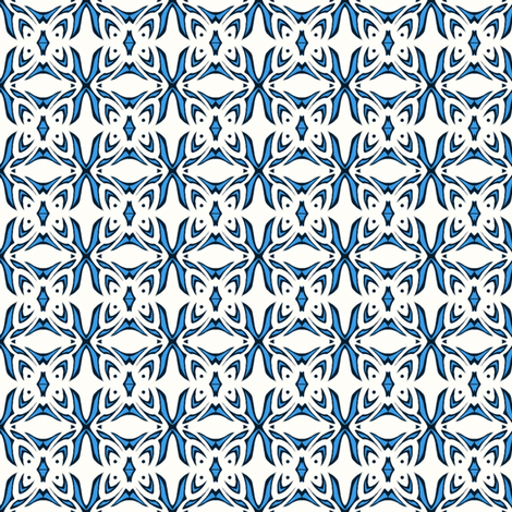 Butterfly Cushion (blue and white) fabric by ladyleigh on Spoonflower - custom fabric