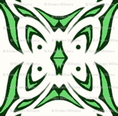 Butterfly Cushion (green and white)