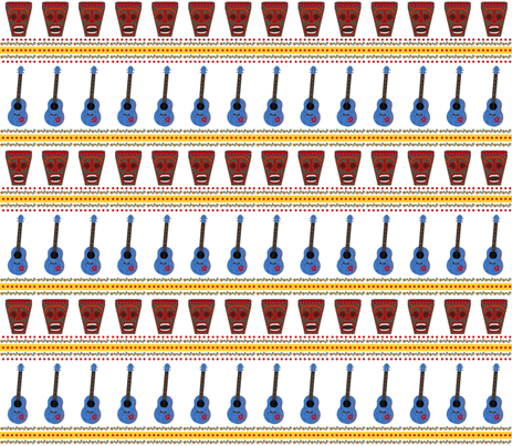 Ukes and Tikis Live In Color! fabric by landofukeandhoney on Spoonflower - custom fabric