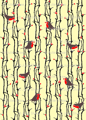 Robins in Branches - Ivory