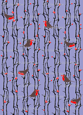 Robins in Branches - Lilac