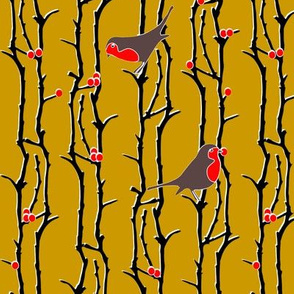 Robins in Branches - Gold