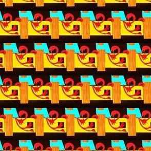 Horizontal Red Vine/ Wood Grain Stripes