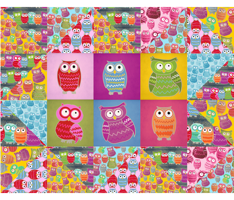 Owl Zig Zag Cheater Quilt for Laura & her new baby James :) fabric by lusyspoon on Spoonflower - custom fabric